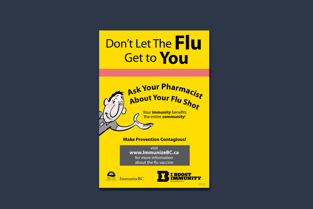 sign design by kapow creative for BC Centre for Disease Control Flu vaccine shelf talker wobbler