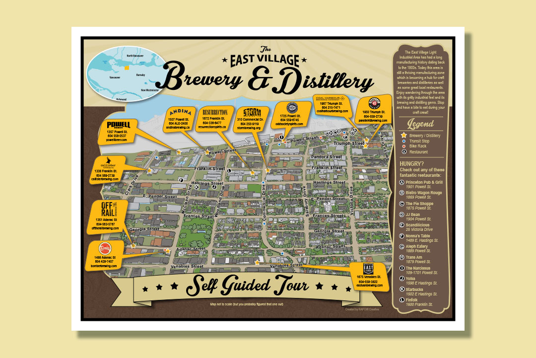Brewery Map Design by KAPOW Creative for HNBIA